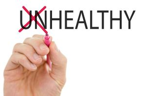 Changing word Unhealthy into Healthy by crossing off  letters UN.