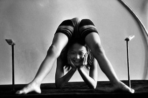 A Mongolian contortionist practices.